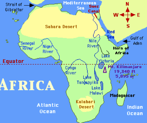 africa map showing deserts