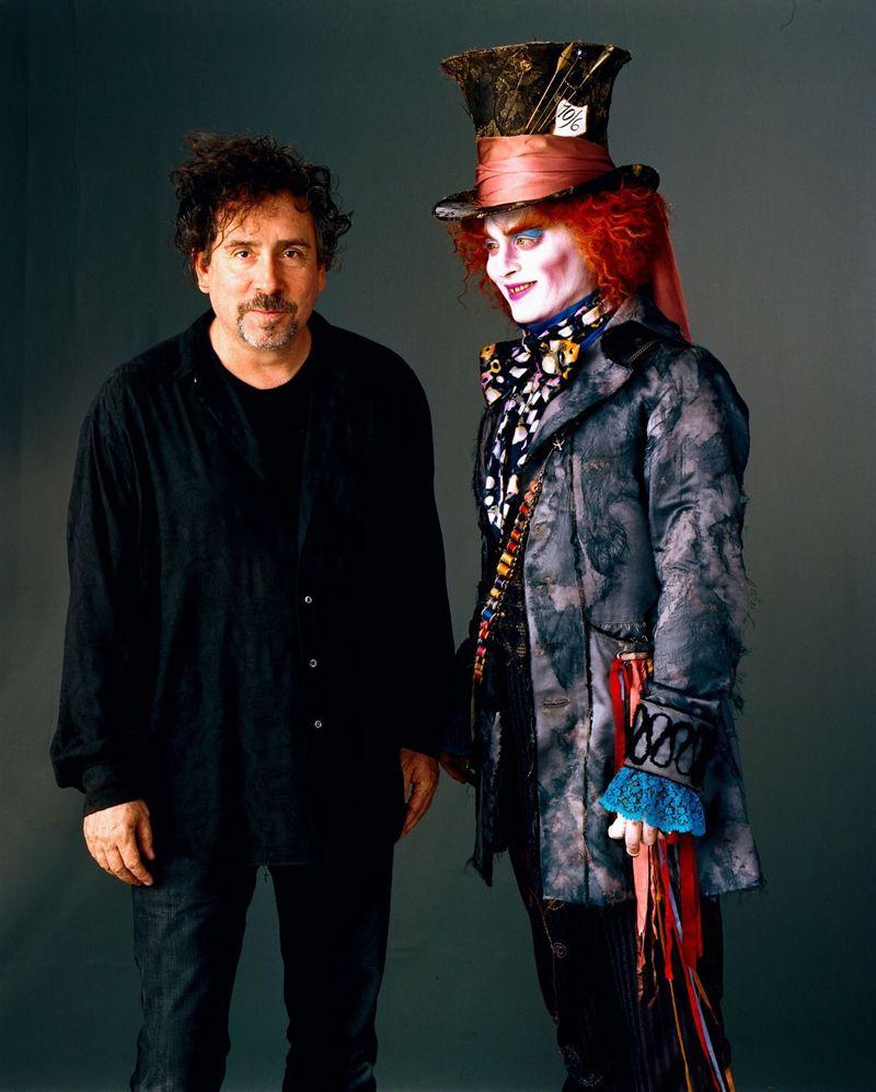 Tim Burton Tim Burton And Johnny Depp Alice In Wonderland 2010