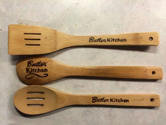 Family name wood burned kitchen utensils by woodhavesaid for Kitchen utensils names