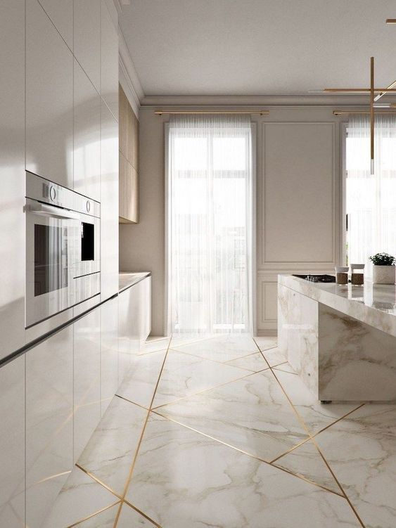▷1001 + kitchen design ideas for your 2019 home renovation -  marble kitchen island and floor, white cabinets, kitchen design ideas, golden geometrical shapes on - #design #Home #Ideas #Kitchen #Renovation