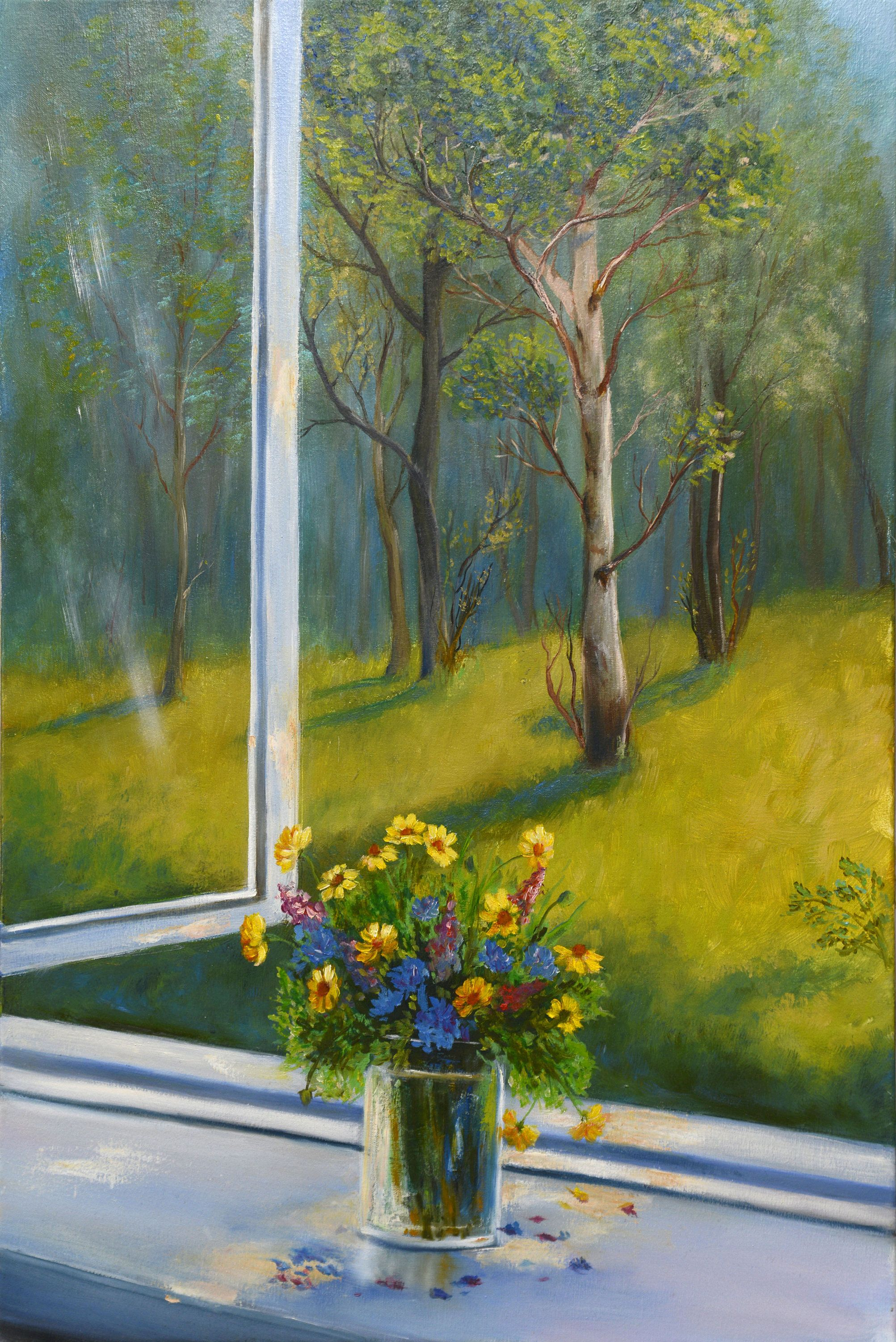 Large Panel With A Spring Landscape Painting On Canvas 24x16 Canvas Outside The Open Wind Oil Painting Landscape Canvas Painting Landscape Landscape Paintings