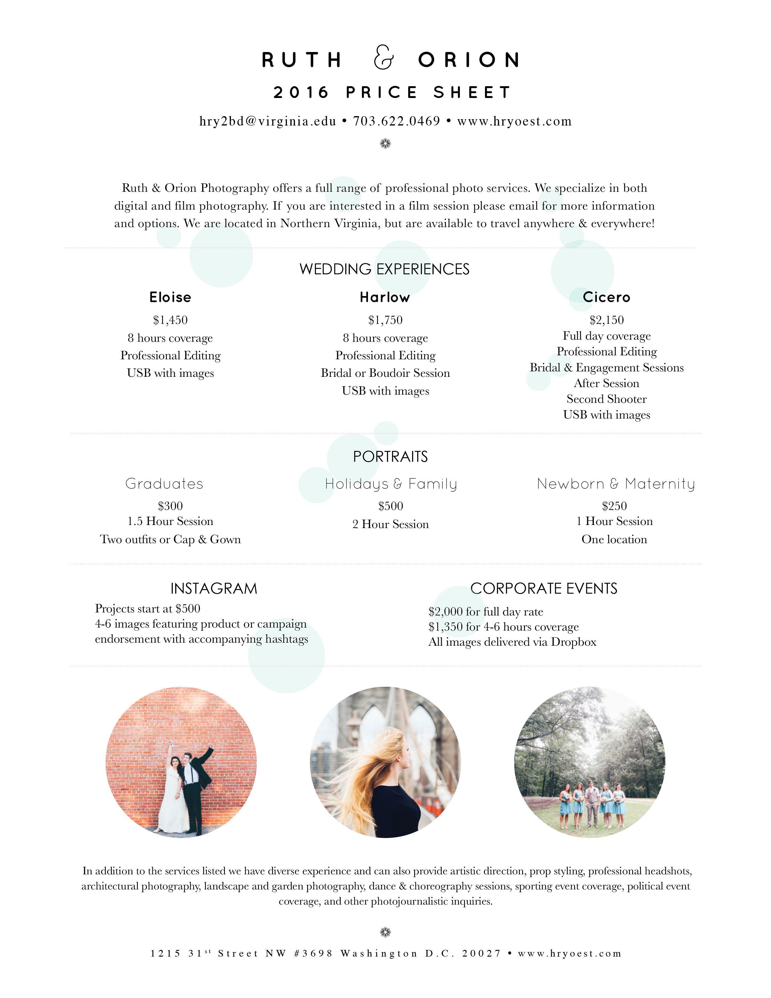 2016 Price Sheet! www.hryoest.com #weddingphotography #pricesheet #photography #weddings #portraitphotography #design #graphic #wedding #portraiture #photographer #lifestyle #boudoir #graduation