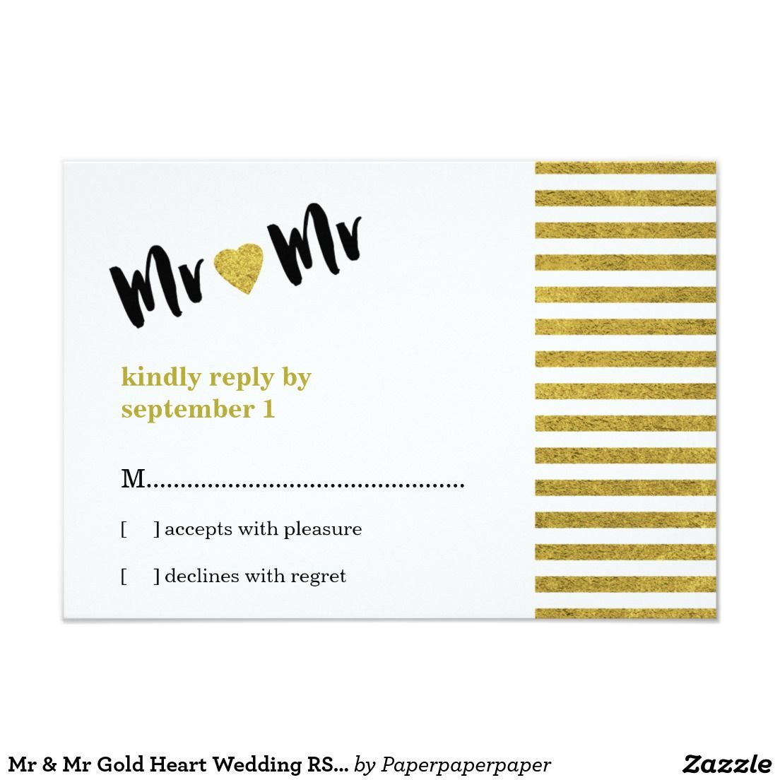 Mr Mr Gold Heart Gay Wedding Rsvp Card Mr Mister And Wedding Rsvp