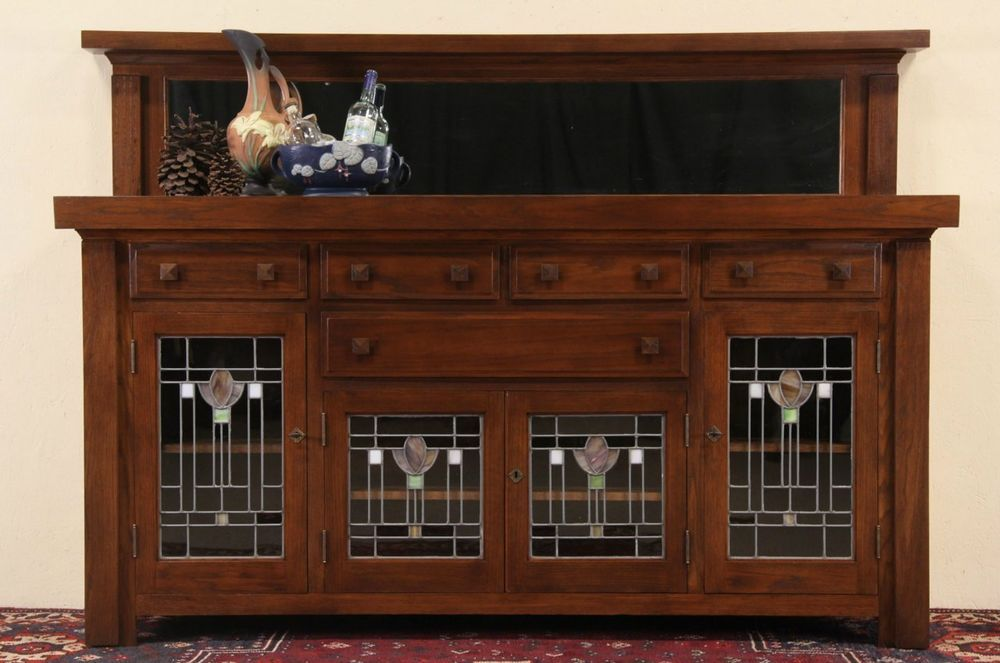 Arts Crafts Mission Oak 1900 Antique Sideboard Stained