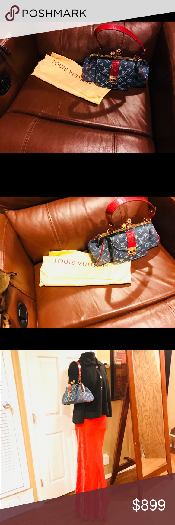 bdc97284afa2 Limited edition Authentic Louis Vuitton Authentic Louis Vuitton Monogram  Alligator Fermoir GM Denim   Red Baguette in Blue Red. Smoke   pet free.  Dust bag ...