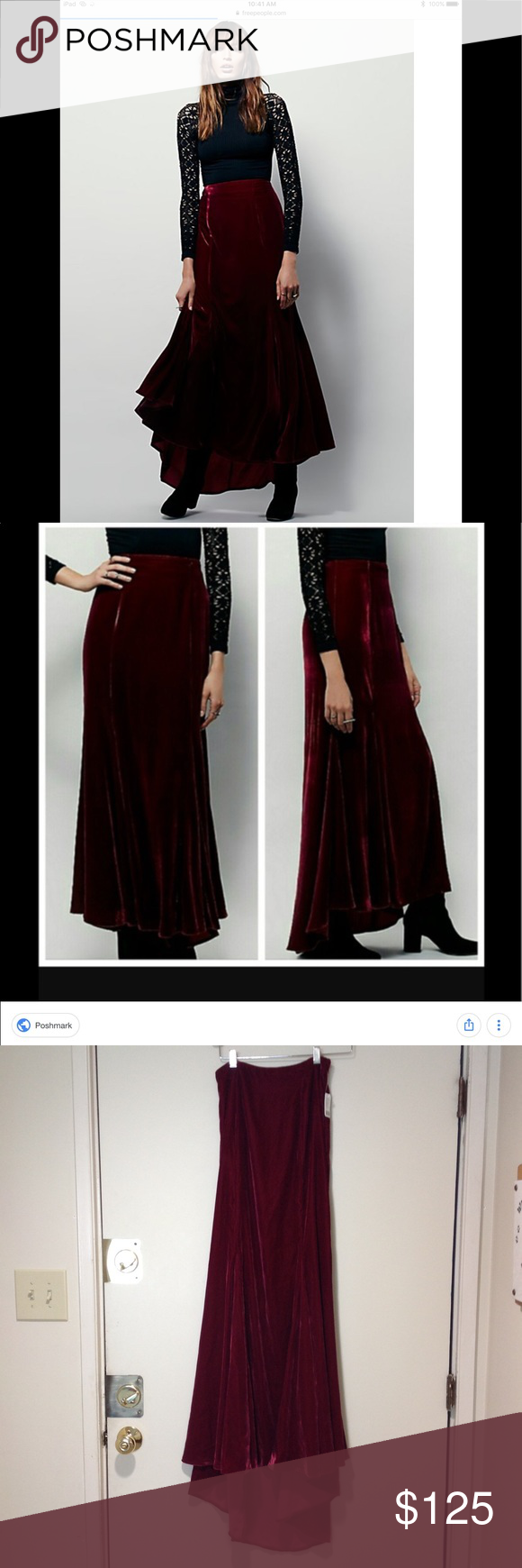 cdf1dcc0f20 Free People X Curtain Call Red Velvet Maxi Skirt FP X Curtain Call Burgundy  Red Velvet Maxi Skirt Super luxe velvet maxi skirt with high-low hem and  front ...