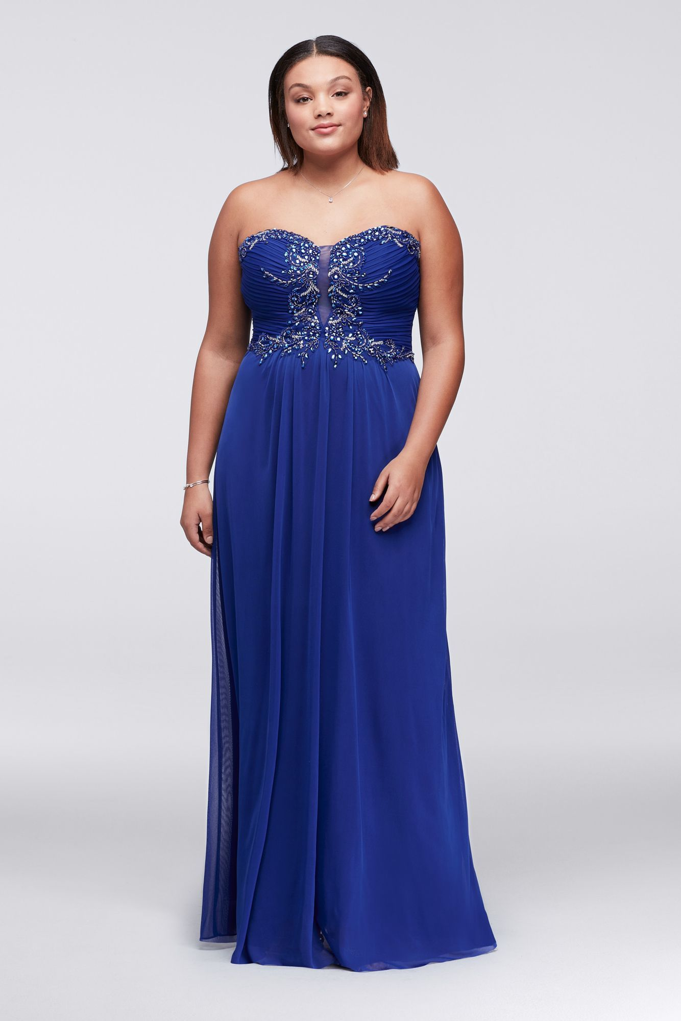 Plus size w beads embellished floor length chiffon prom gown