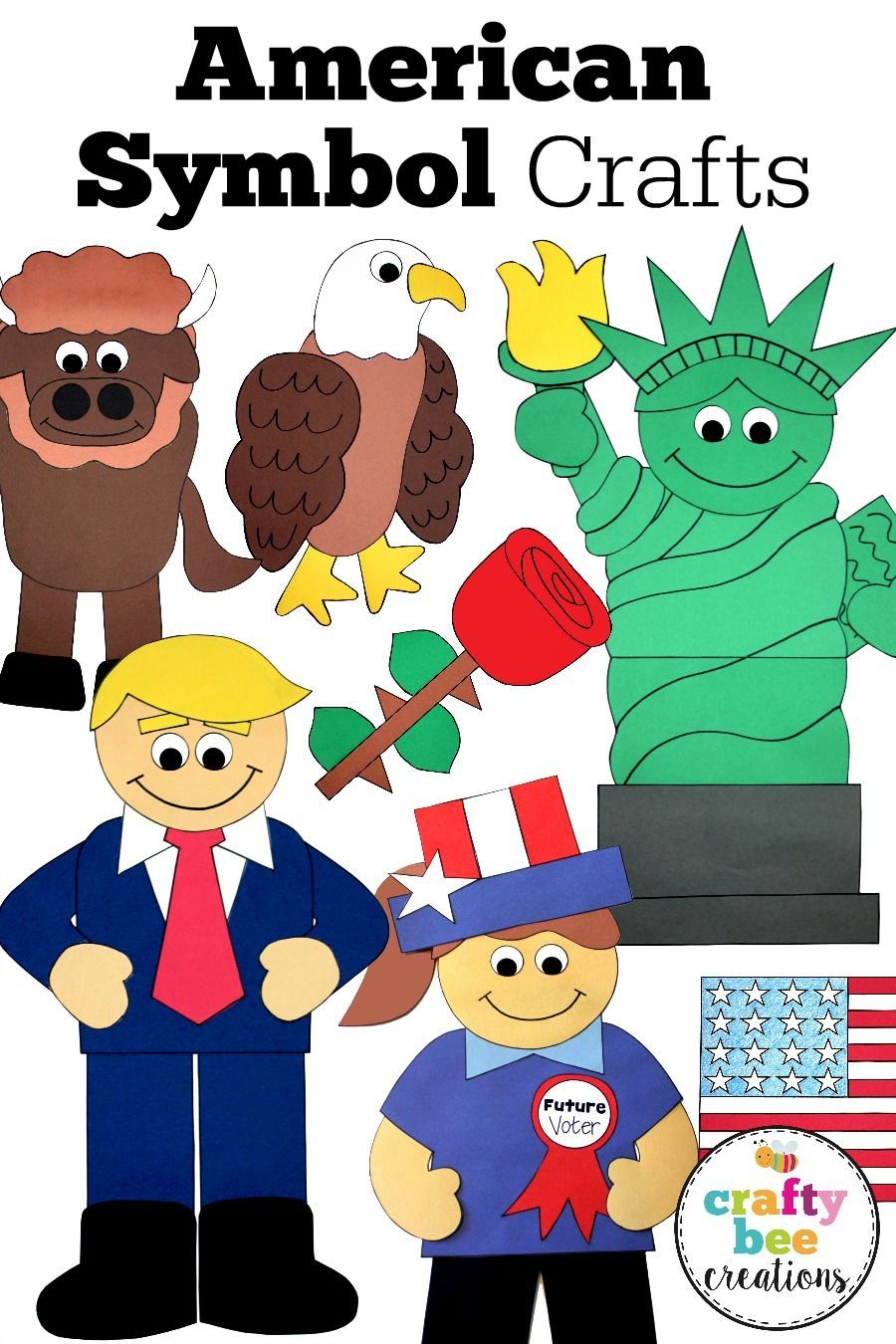 These American Symbol Crafts are great for the Fourth of July, Veteran's Day, Memorial Day, and during history units on the United States.  The craft patterns are easy to use and fun for kids preschool to third grade.