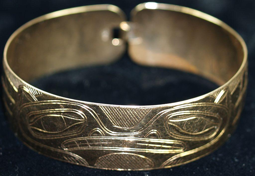 Hand Carved 10 Karat Gold Native Alaskan Tlingit Cuff Bracelet Bracelets Rings For Men Jewelry
