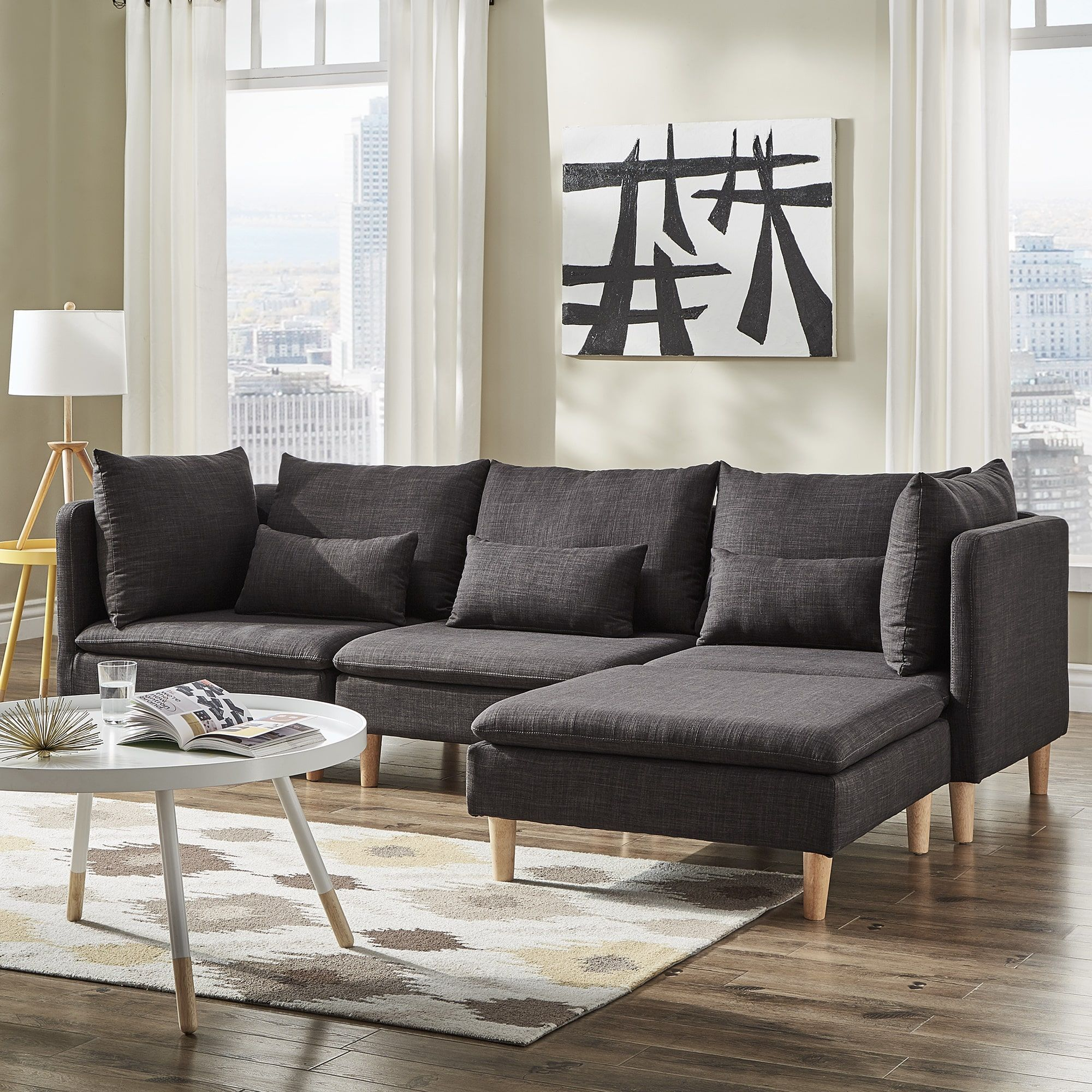 Malina Modular L-Shaped Chaise Sectional Sofa by iNSPIRE Q Modern