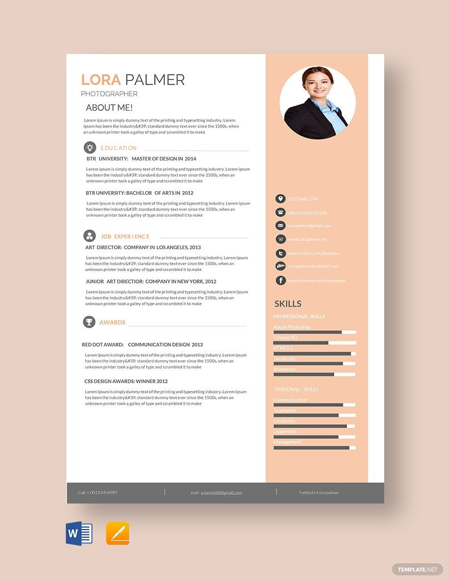 Free Professional Photographer Resume Template di 2020