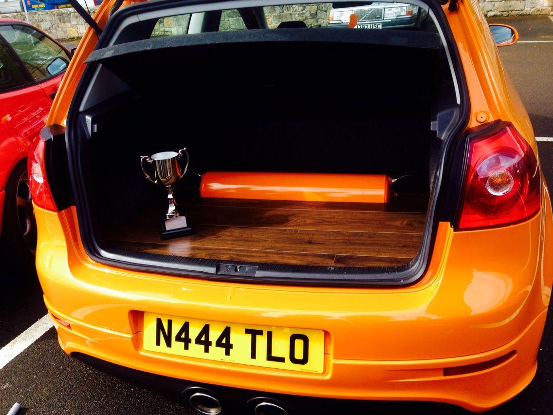 Natalie Andersons Mk5 Golf In Fahrenheit Orange With A Custom Boot Pimped Toyota Quantum Build