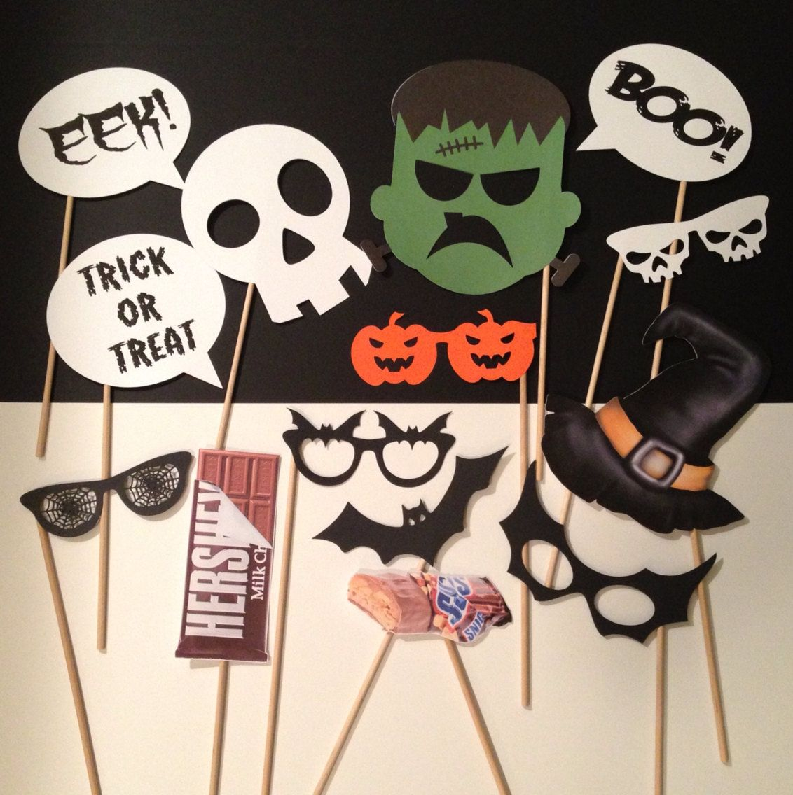 Halloween Photo Booth Prop Props On A Stick By Createdtoparty