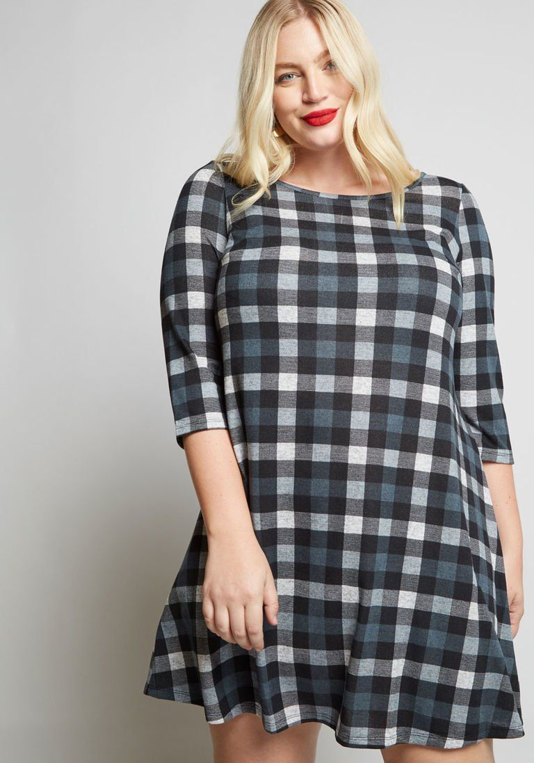 c4126c47f72 Cozy Plaid Sweater Dress in XL - A-line Knee Length by ModCloth