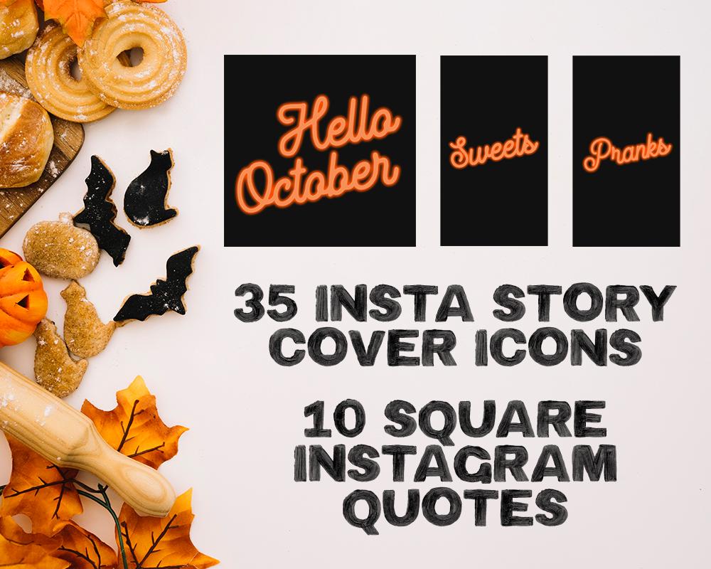 Halloween Black and Orange Neon Instagram Branding Kit