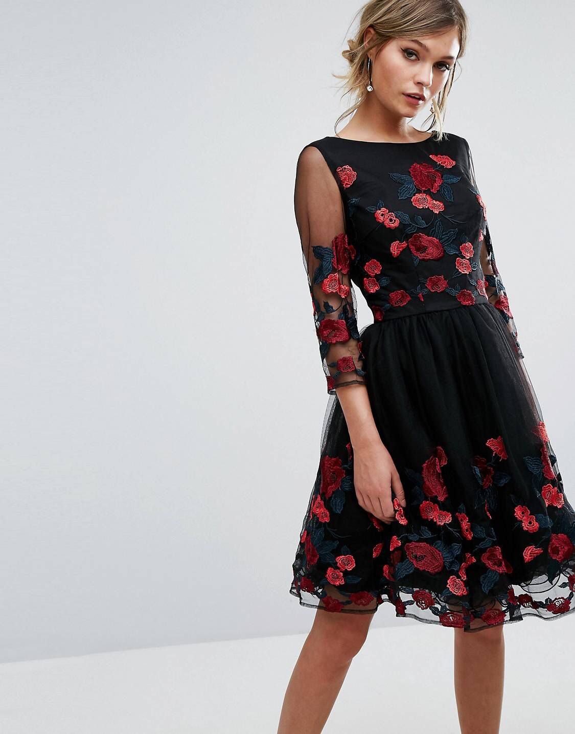 Chi chi london long sleeve prom dress with floral embroidery never