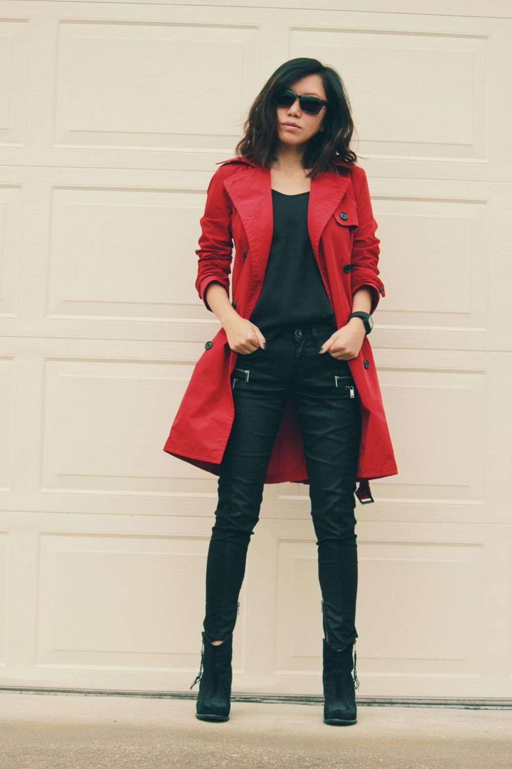 red trench coat outfit casualoffice with zippered
