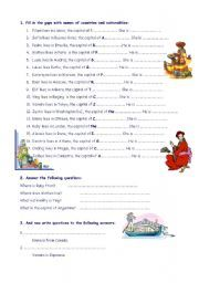 English worksheet: Countries, capitals and nationalities ...