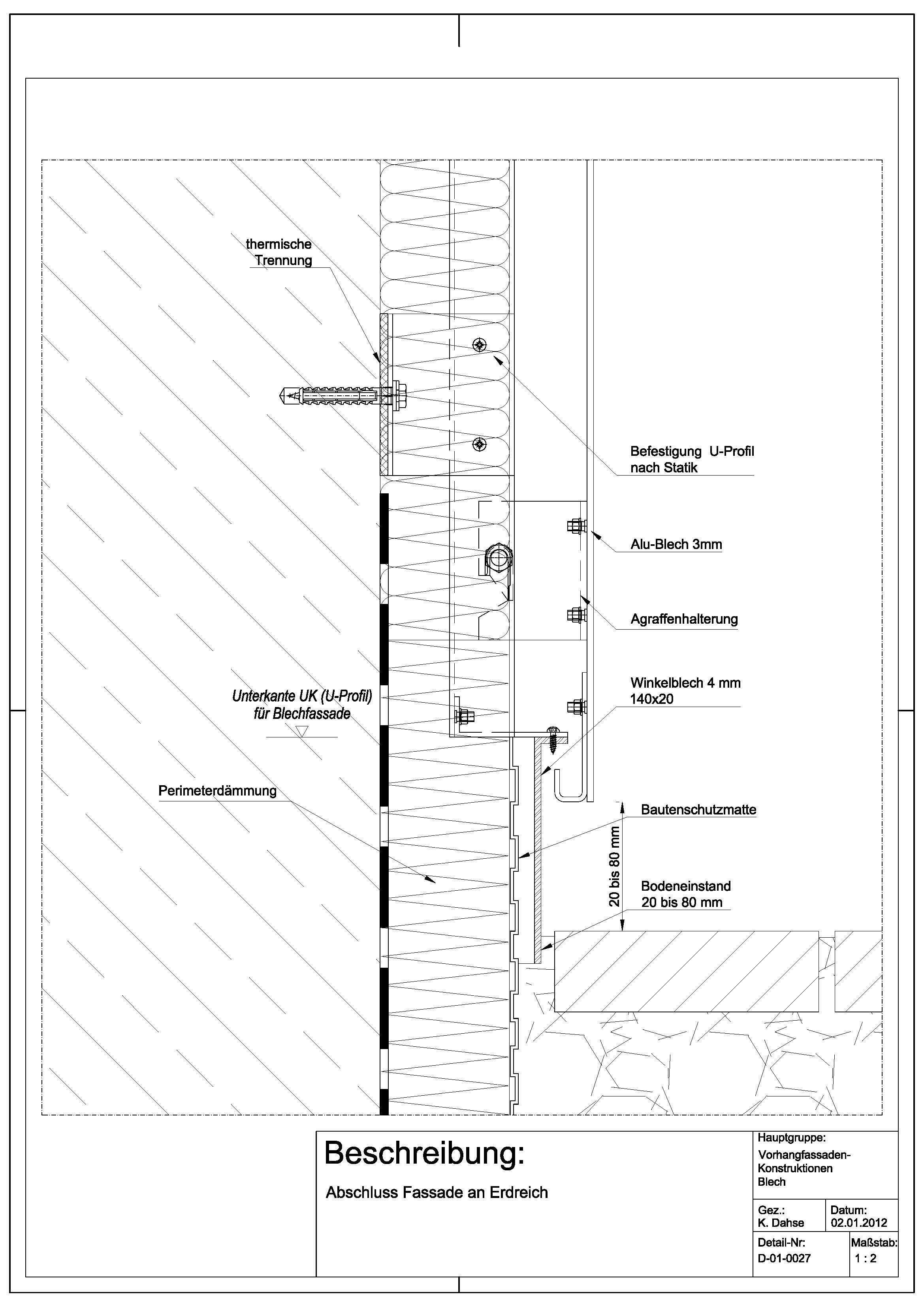 d 01 0027 abschluss fassade an erdreich detail pinterest vorhangfassade rohbau and. Black Bedroom Furniture Sets. Home Design Ideas