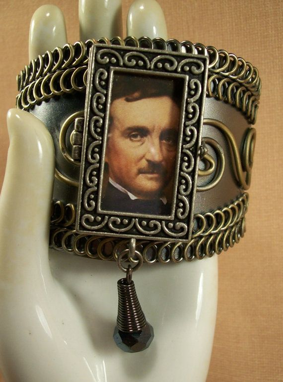 ~SOLD~ Poe Noir Ghastly Dark And Unusual Carnival Macabre Large Cuff Bracelet Fierce Altered Art Big Bold Trendy Literary Style Upcycled Ohio Indie