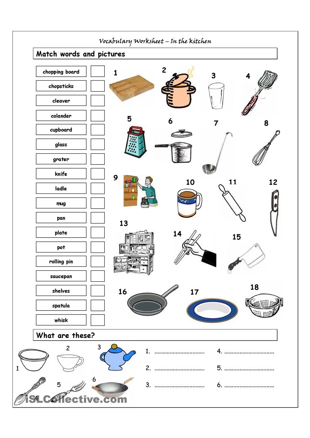 Vocabulary Matching Worksheet In the kitchen Life