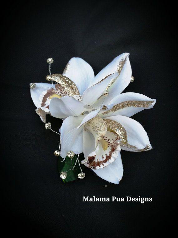 Tropical Hair Flowers Ivory Orchids Hawaiian Bridal By Malamapua