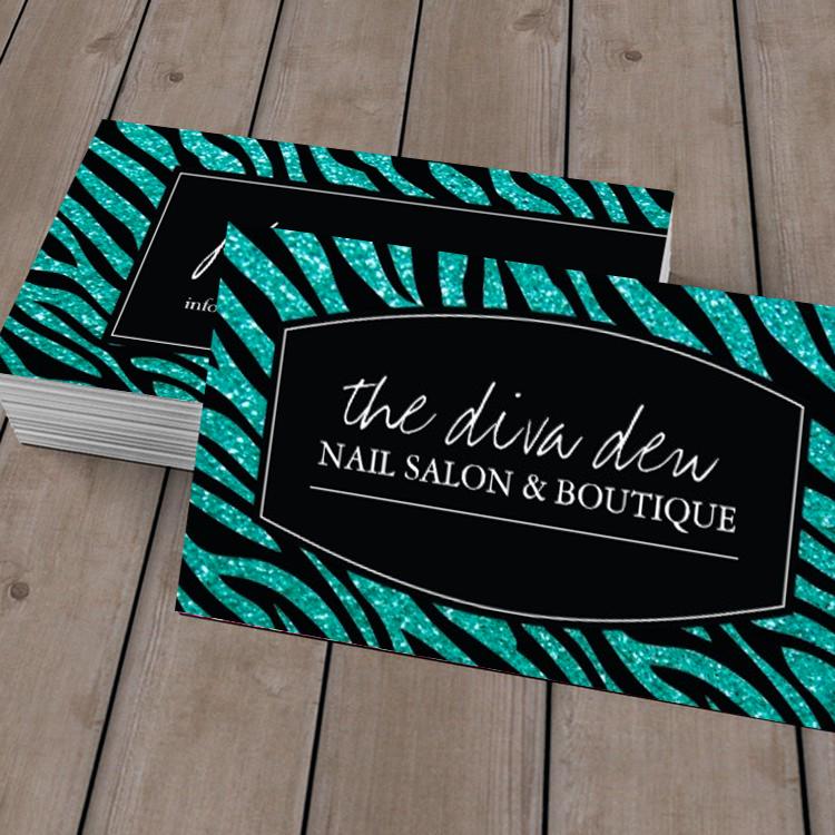 Stylish Glitter Zebra Print Business Card | Nail technician ...