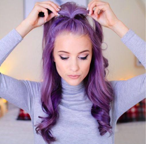 Best Long Blonde Hairstyles with Purple Highlights | Hair: Cuts ...