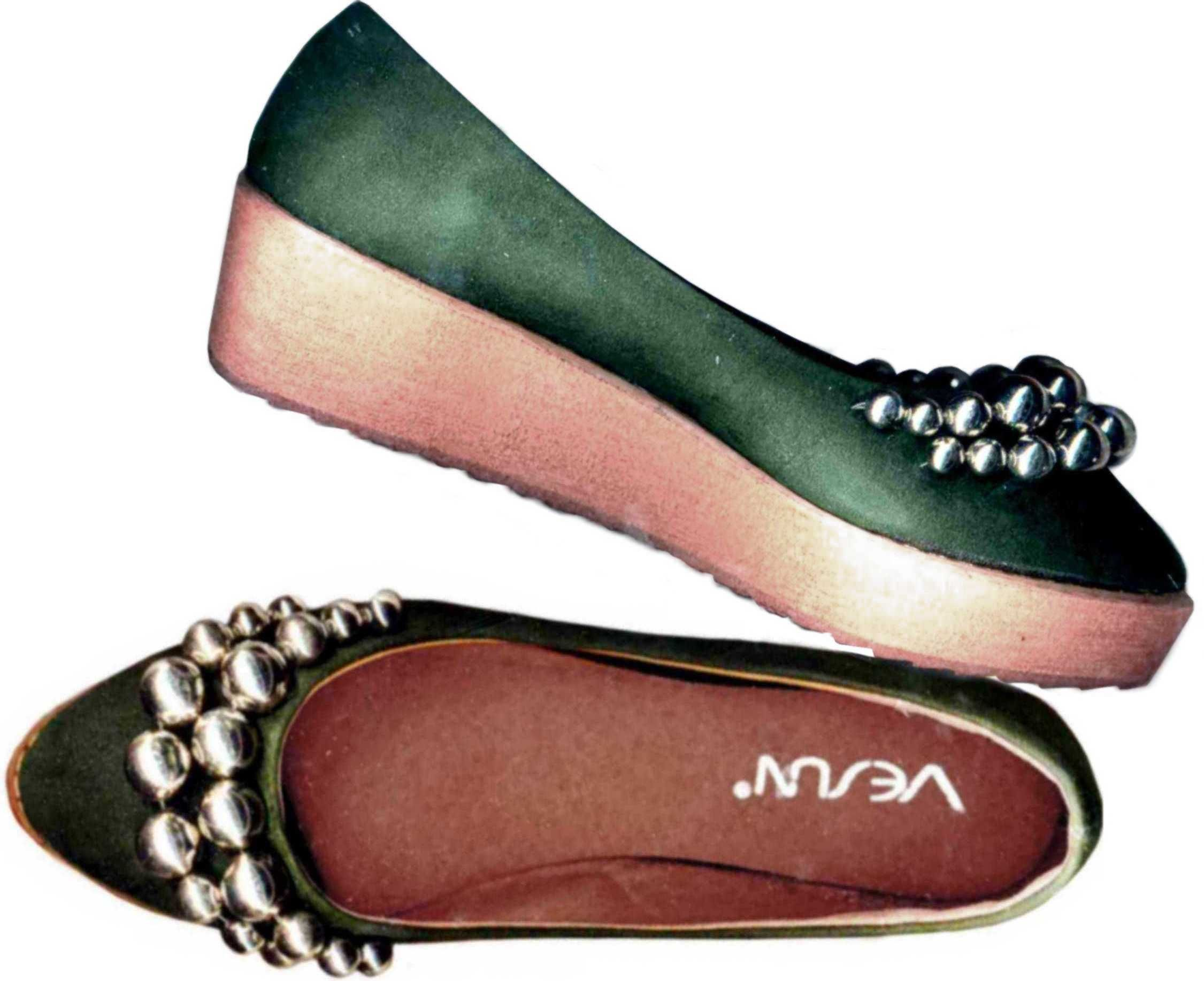 SILVER BEADED DARK GREEN SUEDE PLATFORM SHOES shoes