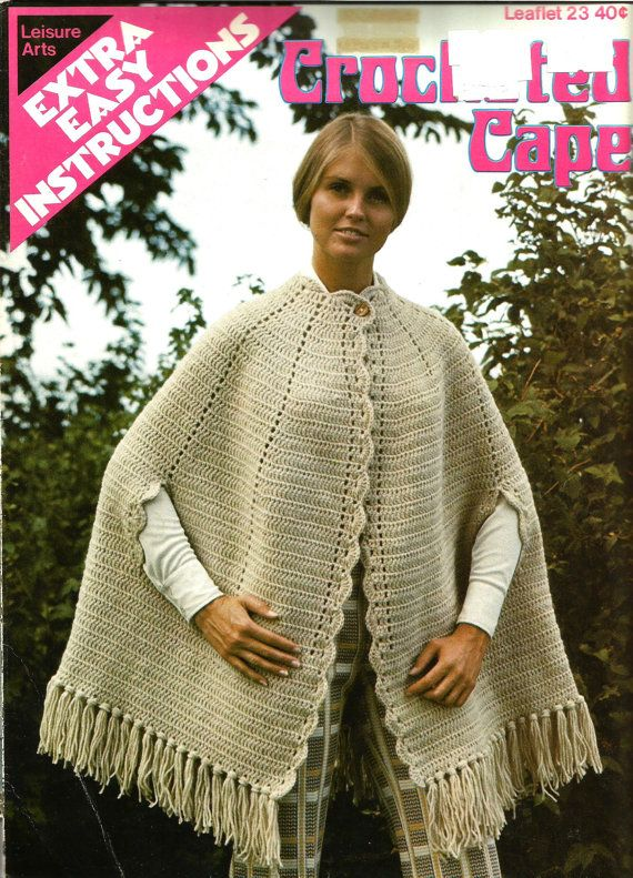 Vintage Crocheted Cape Pattern Leisure Arts By