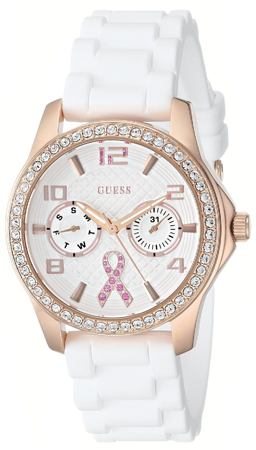Amazon.com: GUESS Women's U0032L3 Rose Gold-Tone Breast Cancer Awareness  Watch with White Silicone Strap: Guess: Watches