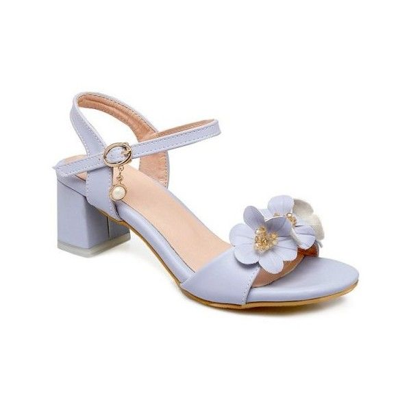 Light Blue Faux Pearl Flowers Sandals ($41) ❤ liked on Polyvore featuring shoes, sandals, flower shoes, blossom footwear, light blue sandals, light blue shoes and flower sandals