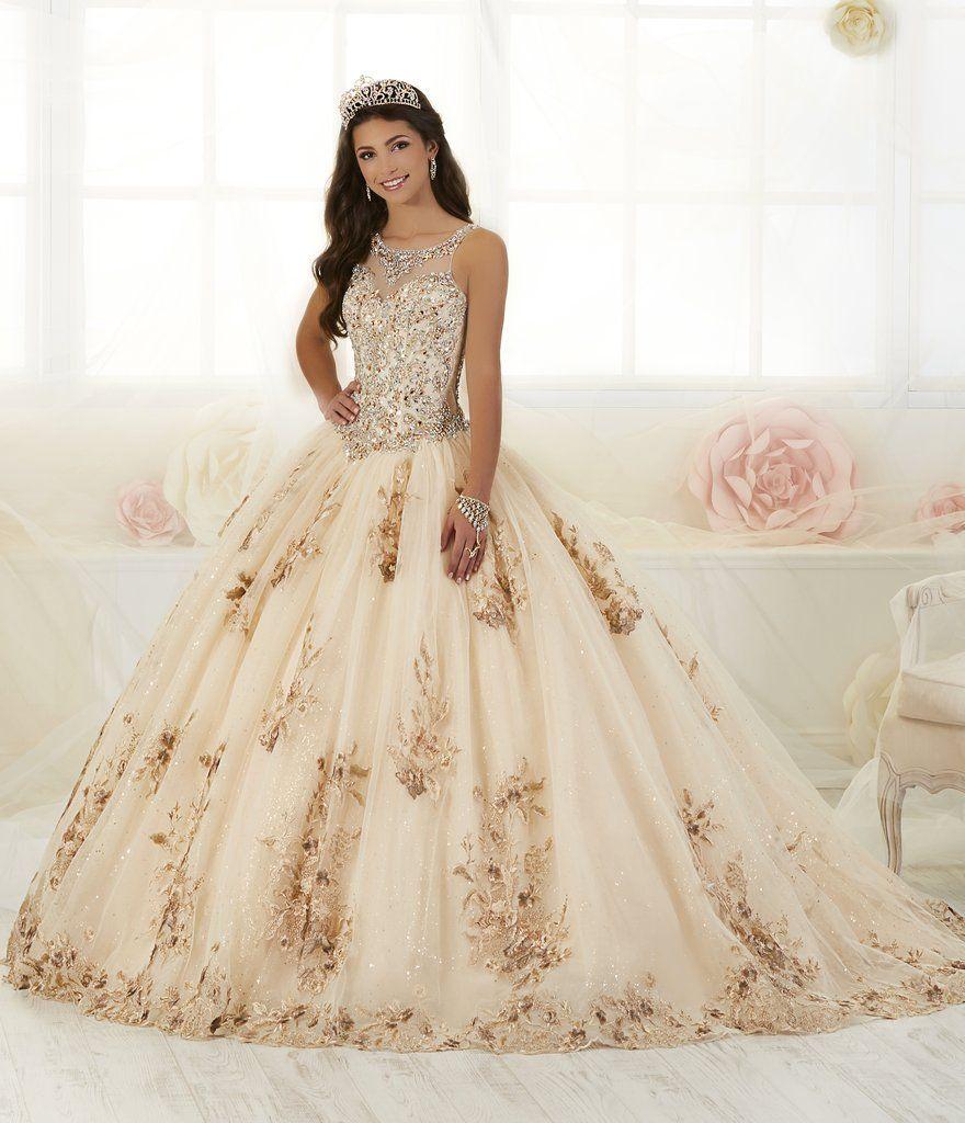b35a0b30b Floral Appliqued Quinceanera Dress by House of Wu 26884 Vestidos De Gala