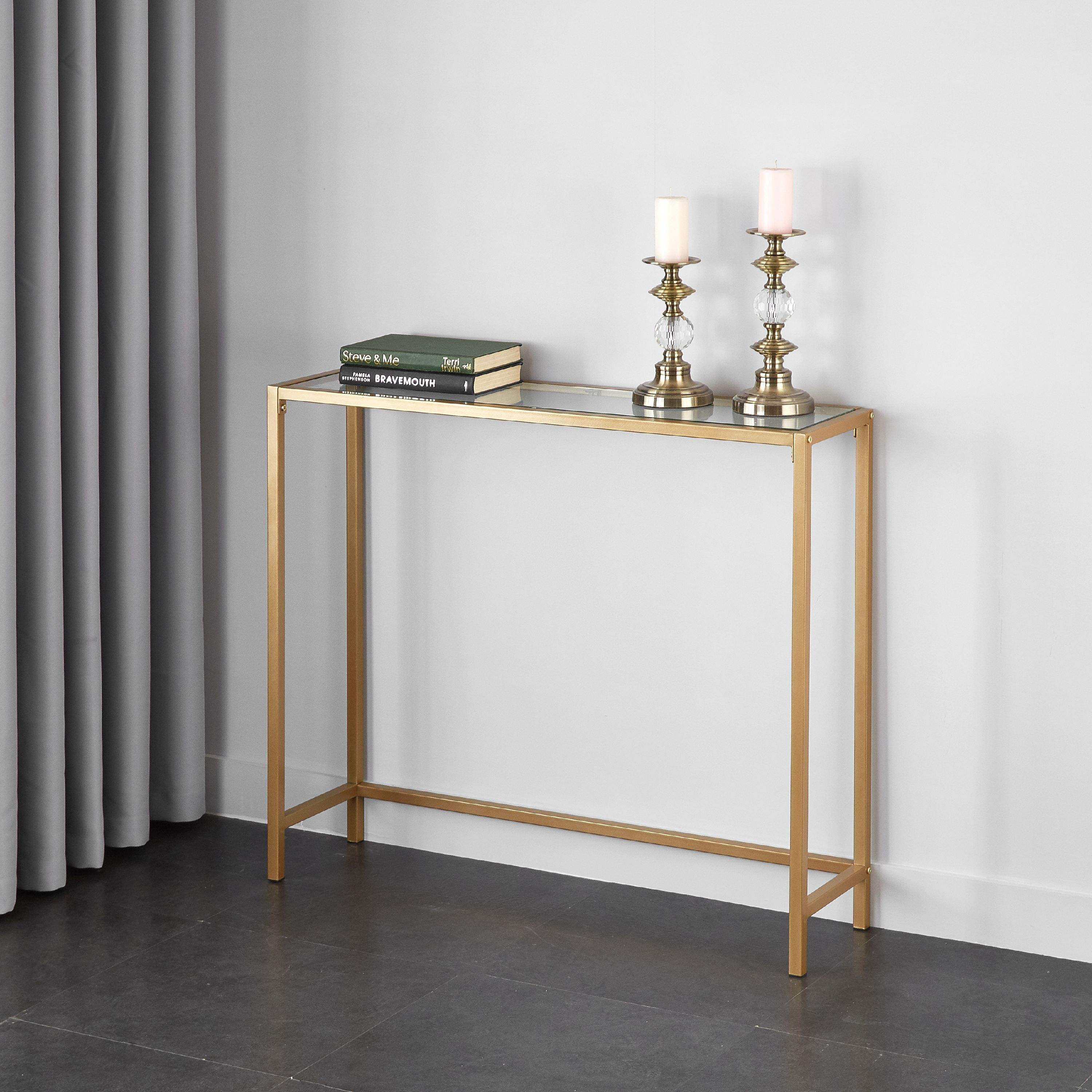 Mainstays Contemporary Tempered Glass And Metal Console Table Gold Finish Walmart Com In 2020 Metal Console Table Console Table Decorating Metal Console