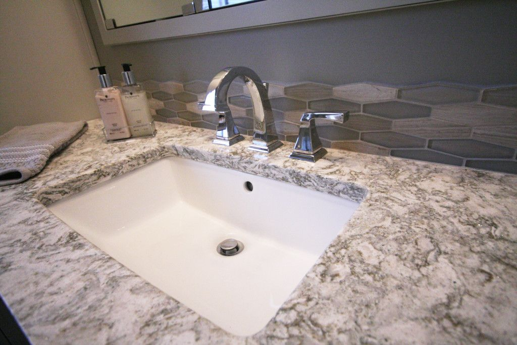 Dreammaker Bathroom Remodel Gray And White Tile Cabinetry