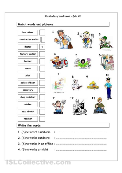 Vocabulary Matching Worksheet - Jobs (1). Good for the younger ESL ...