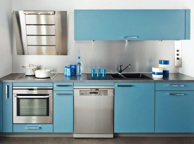Cuisine bleu inox http cdn maison for Meuble cuisine italienne