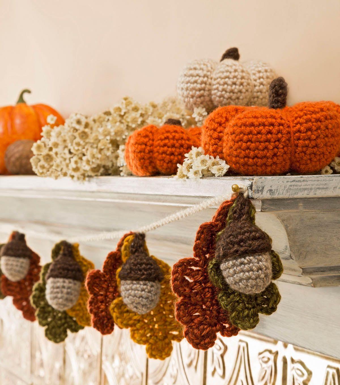 Acorn and Leaf Garland and Mini Pumpkins: free crochet patterns ...