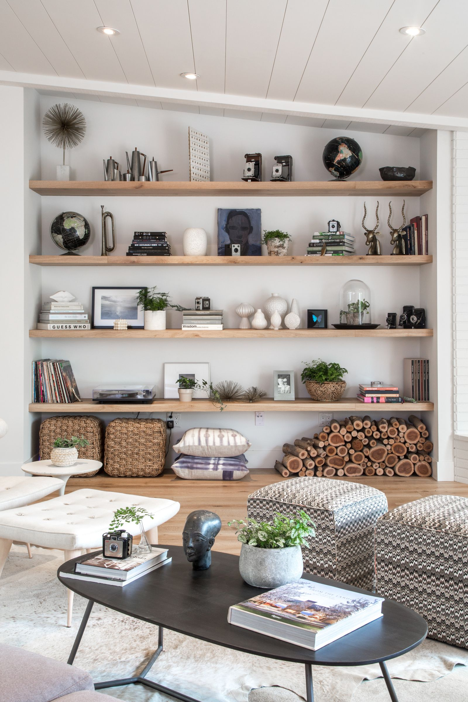 Living room open shelf styling Bethany Nauerts Portfolio