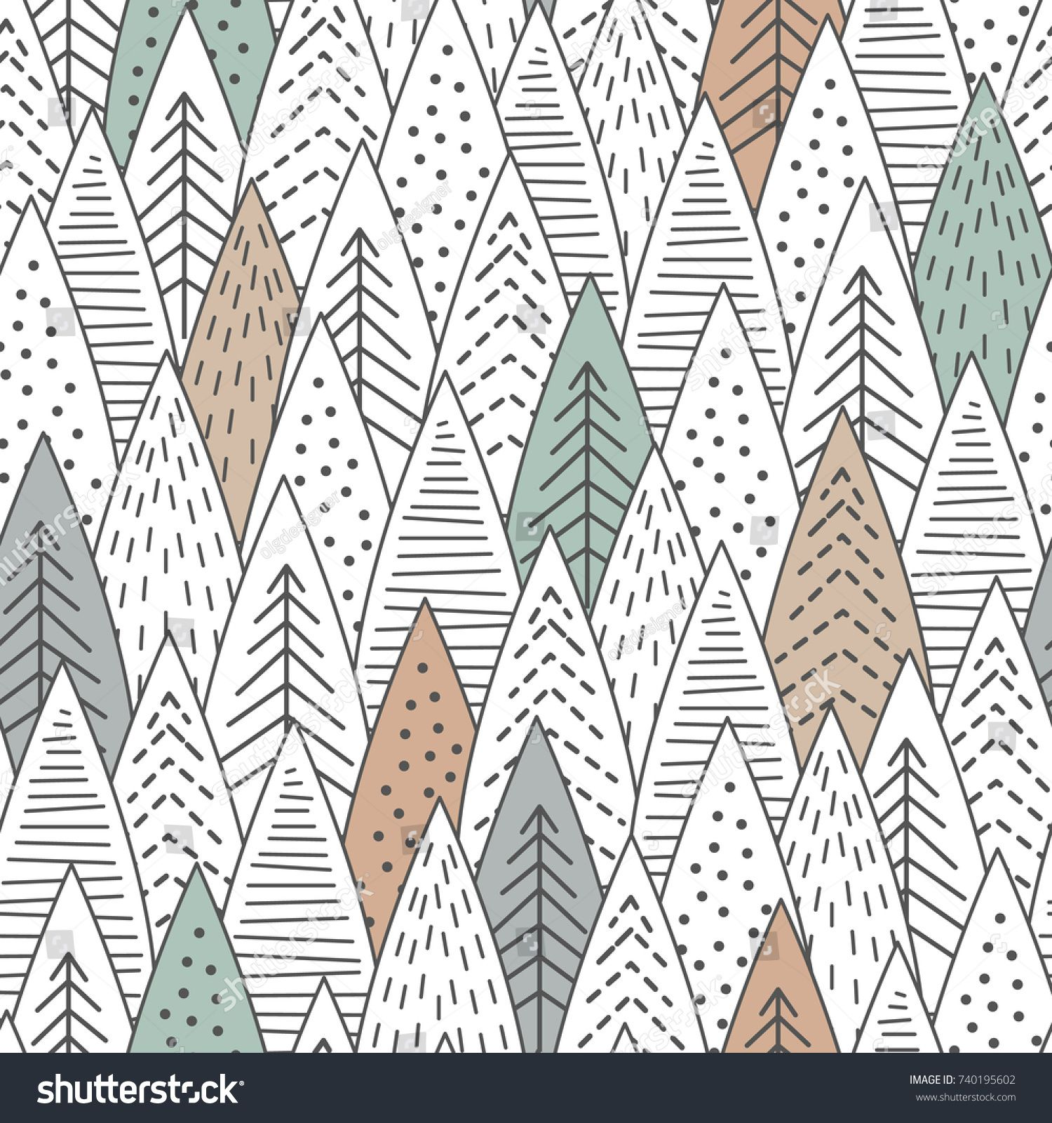 Winter Forest Seamless Pattern Graphical Lines And Coloring Scandinavian Style Vector Ill Scandinavian Design Pattern Scandinavian Pattern Seamless Patterns