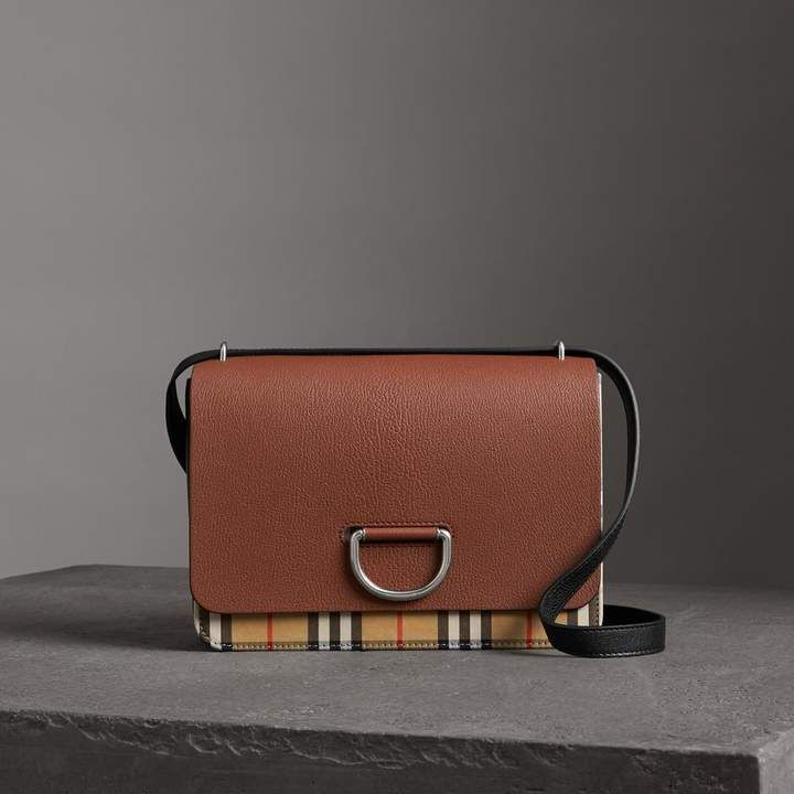 c7cb9bf245f8 The Medium Vintage Check and Leather D-ring Bag in Tan black - Women ...