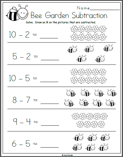 bee garden subtraction math worksheet for kindergarten vinna kindergarten math worksheets. Black Bedroom Furniture Sets. Home Design Ideas