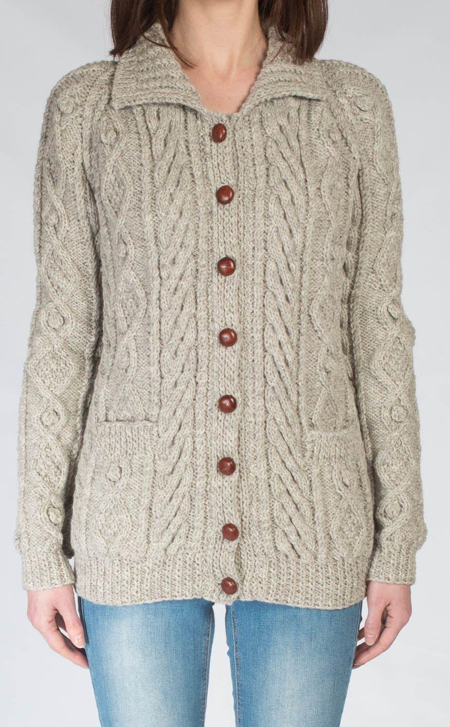 Ladies Luxury Hand-Knitted Aran Cardigan - Ness. Scotweb | knitting ...