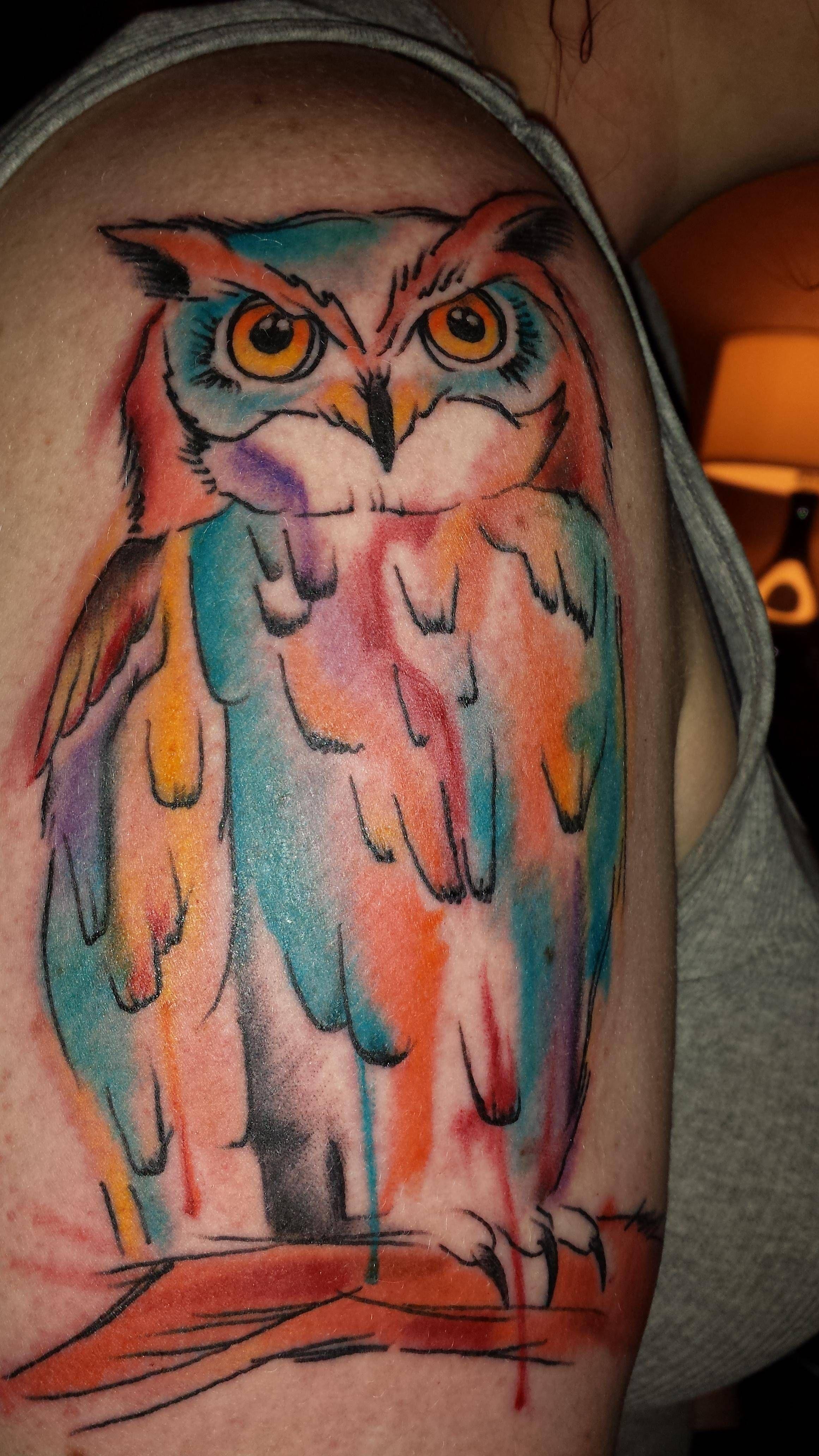 Abstract watercolor owl by Ron Rash at Aces Tattoo; Reno, NV ...
