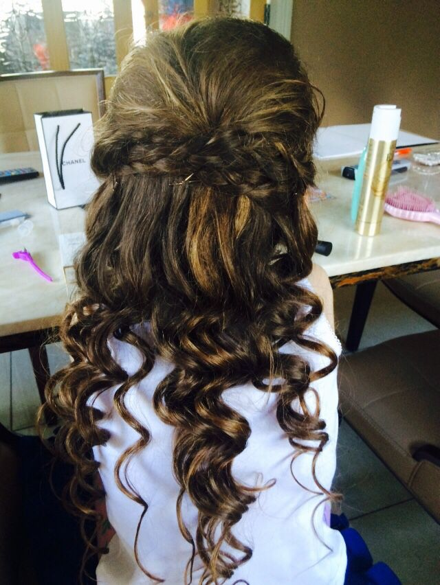 Lovely curls, half up half down plaits, gorgeous communion ...