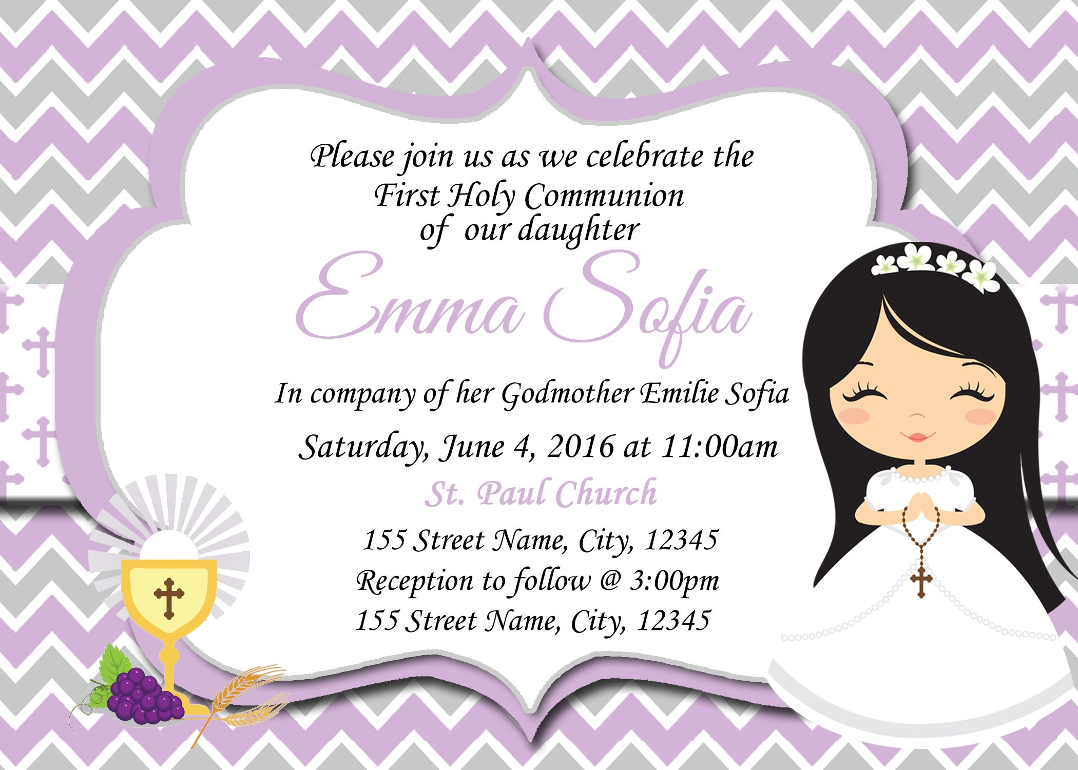 First Communion Invitation Christening Baptism Girls Communion