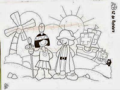 Imagenes Para El 12 De Octubre Cristobal Colon Para Ninos Dibujos Para Ninos Indigenas Para Colorear