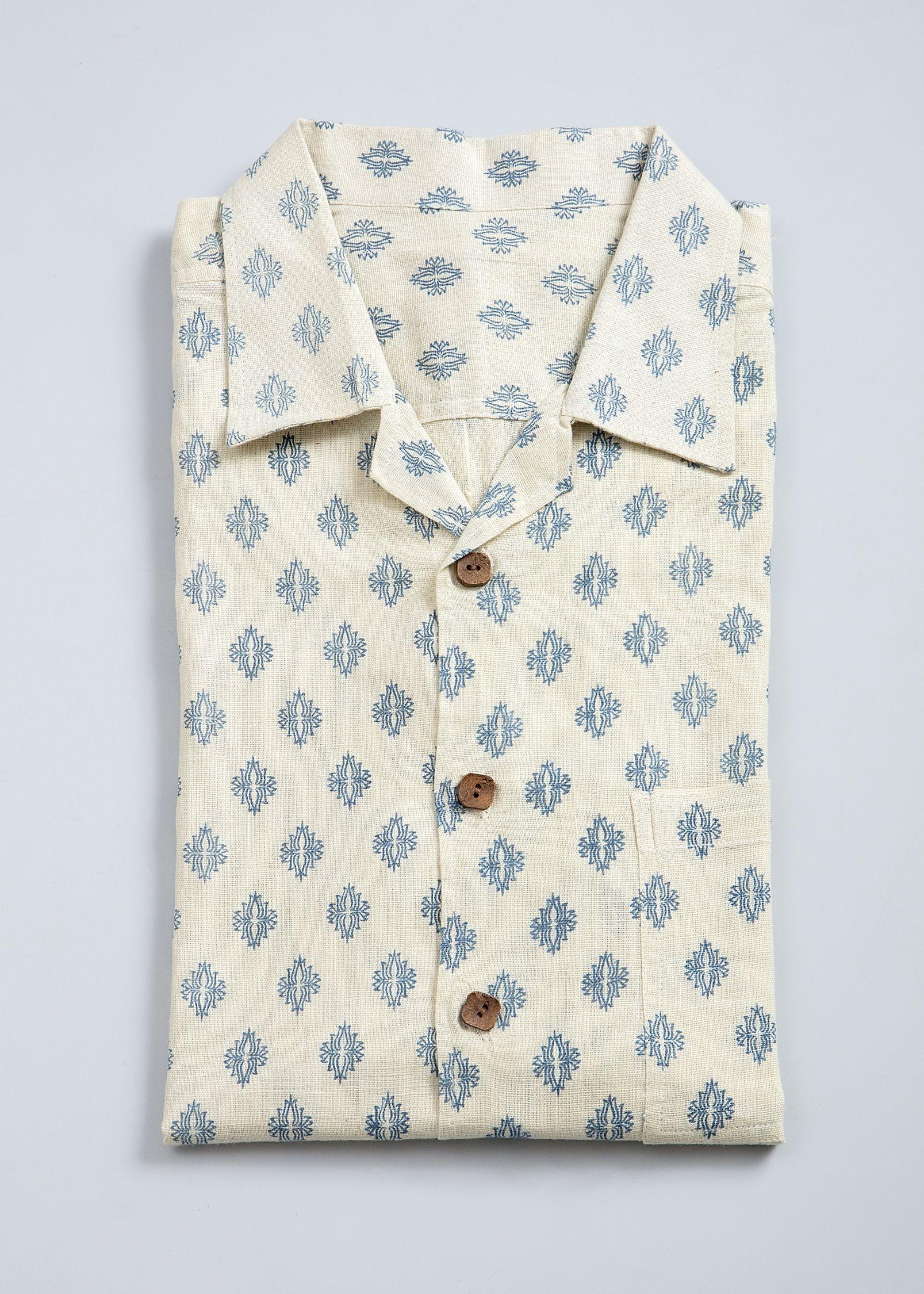 33c13d90 Natural dye, Indigo, block print, kadhi, Men's shirt, with square wooden  buttons