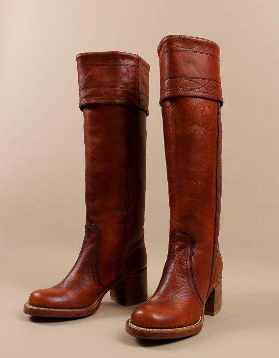 6f4f3ea322e 60s 70s FRYE Tall Riding Boots   SIENNA Rust LEATHER   Stacked ...
