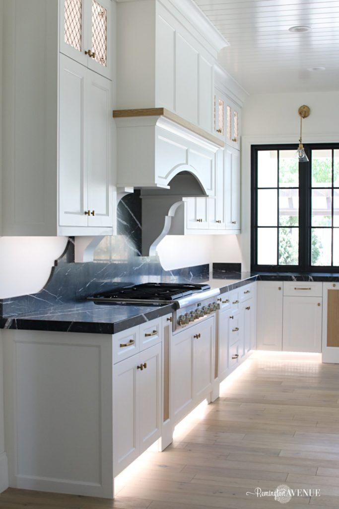 French Country Modern Kitchen with Black Marble Counters ...